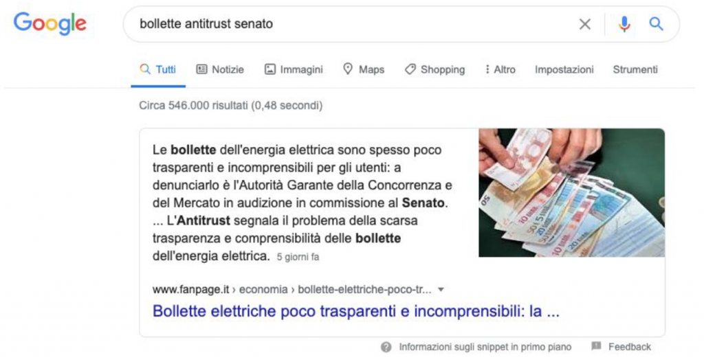 Google: bollette antitrust senato